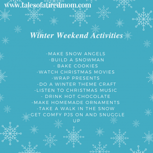 Looking forward to snow in the forecast and a wonderful winter weekend with your family?? Here are some fun activities you can try!