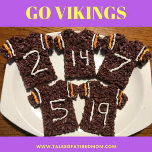 Rice Krispie Football Jerseys. We gotta keep the good mojo going all week to prepare for the big game. Making special treats for good luck.