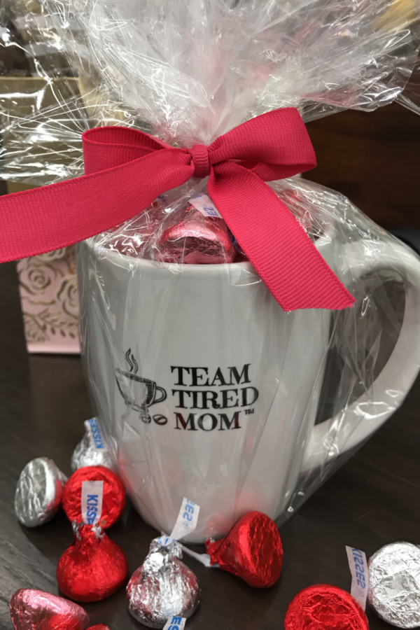 Valentine's Day Special Offer - Candy Filled Team Tired Mom Coffee Mug Chocolate filled, wrapped and ready to go!!!!