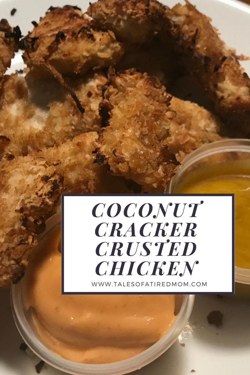Try these delicious, crispy coconut cracker crusted chicken bites. Easy recipe and only 7 simple ingredients. Picky eater friendly.