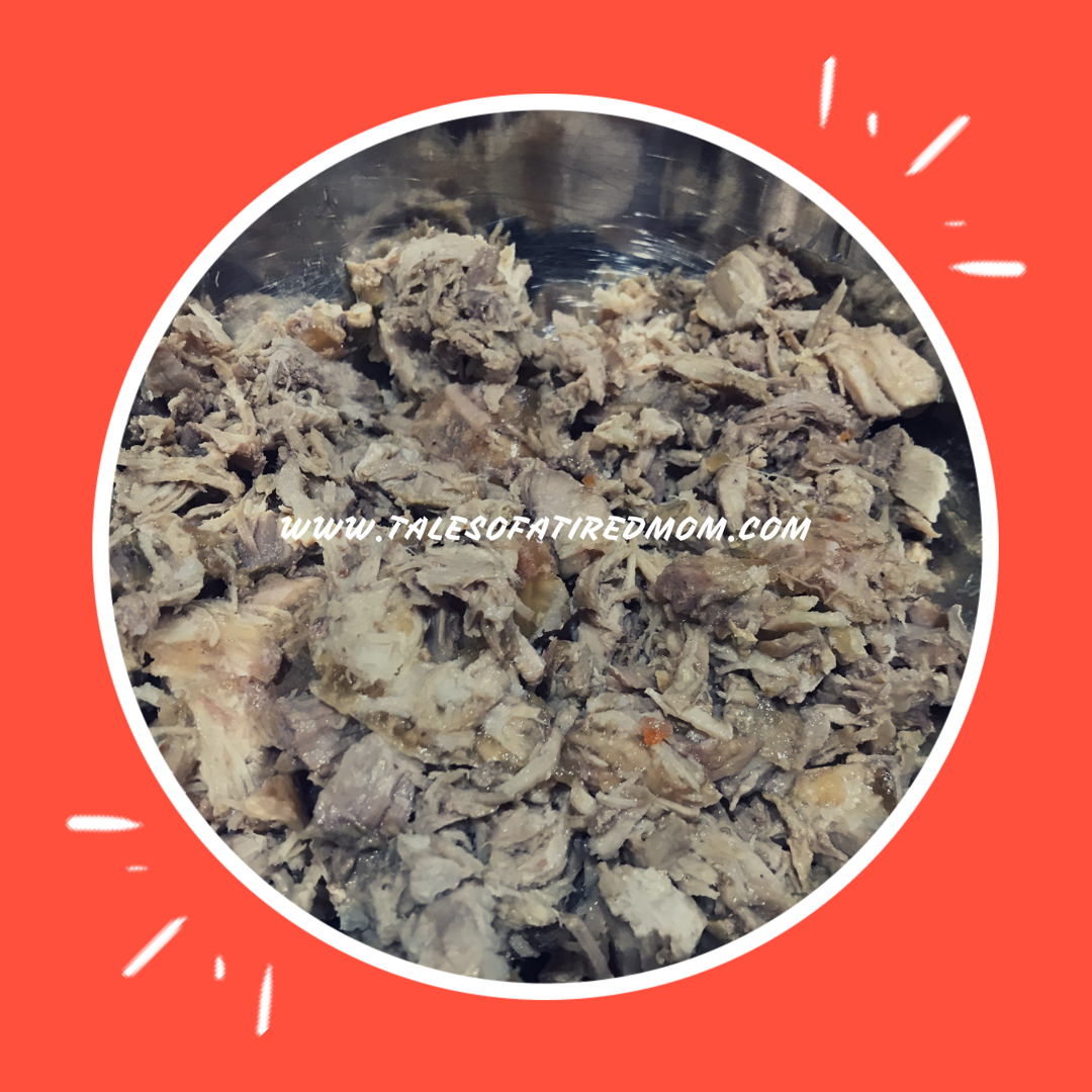 So I'm whipping up a quick recipe to using leftover pork. Made a bunch of pulled pork in the crockpot the other night...but now I need to transform it!!