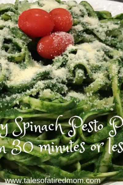 Easy Spinach Pesto Pasta in 30 minutes or less