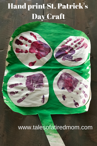 Hand print St. Patrick's Day Craft