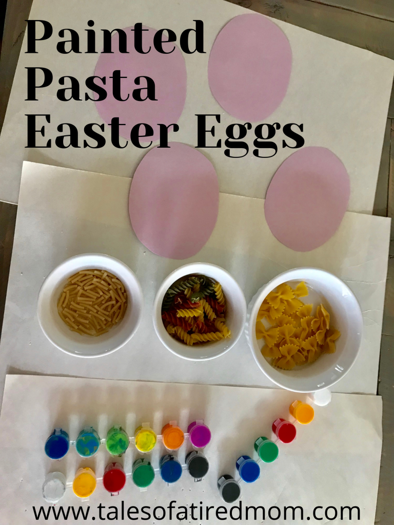 Painted Pasta Easter Eggs. Let's get right to the fun. This is a great activity because you only need a few things and you probably already have them.