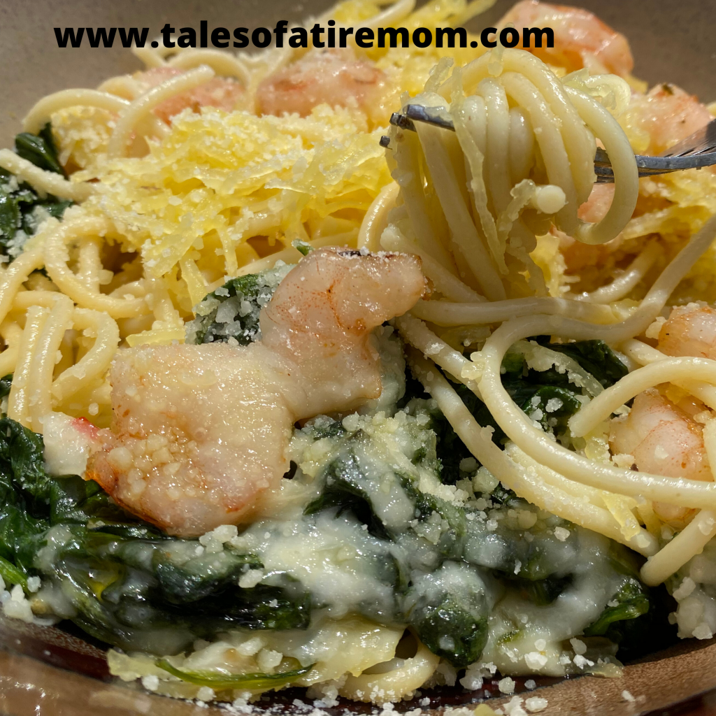 Spaghetti Squash, Spinach and Shrimp Bake. Another easy dinner recipe that you can make ahead of time and then just pop in the oven.