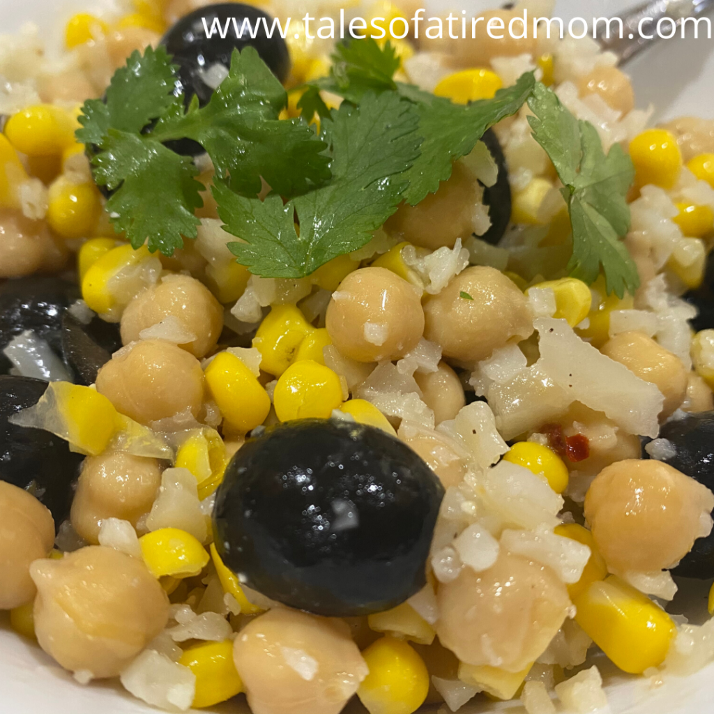 Cauliflower Rice Summer Salad. Super easy recipe using all pantry and freezer items. Vegetarian. Healthy. Recipe for a crowd.