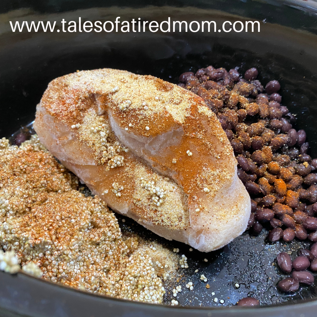 Crockpot Cajun Chicken Dinner. Got chicken in the freezer? Beans and quinoa in the pantry. Some spices? You have dinner.