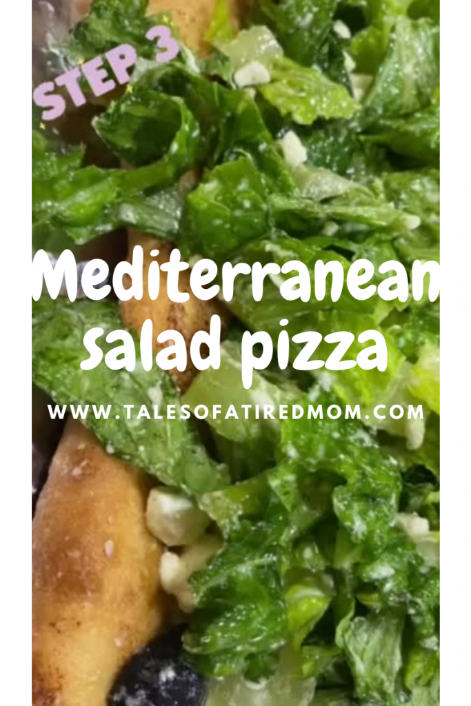 Mediterranean Salad Pizza is so tasty you won't stop at just one slice & because it's a salad, you don't have to! Healthy & homemade recipe.